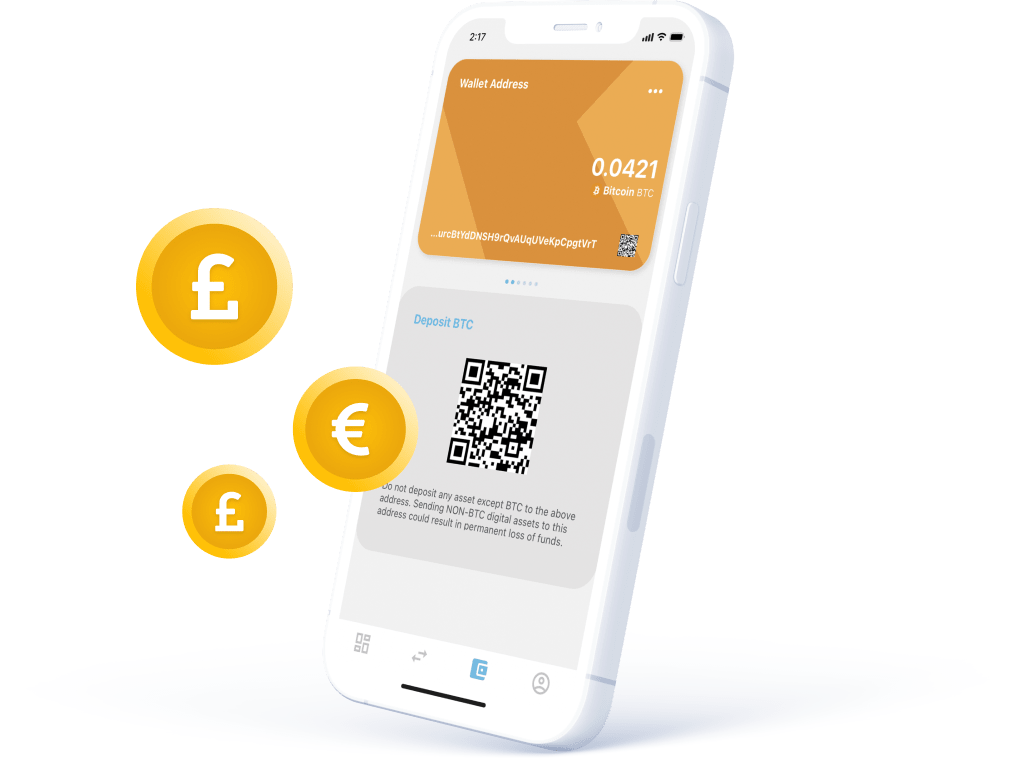 Free deposits for bank transfers and crypto deposits. Mobile phone image. BTC deposit mobile